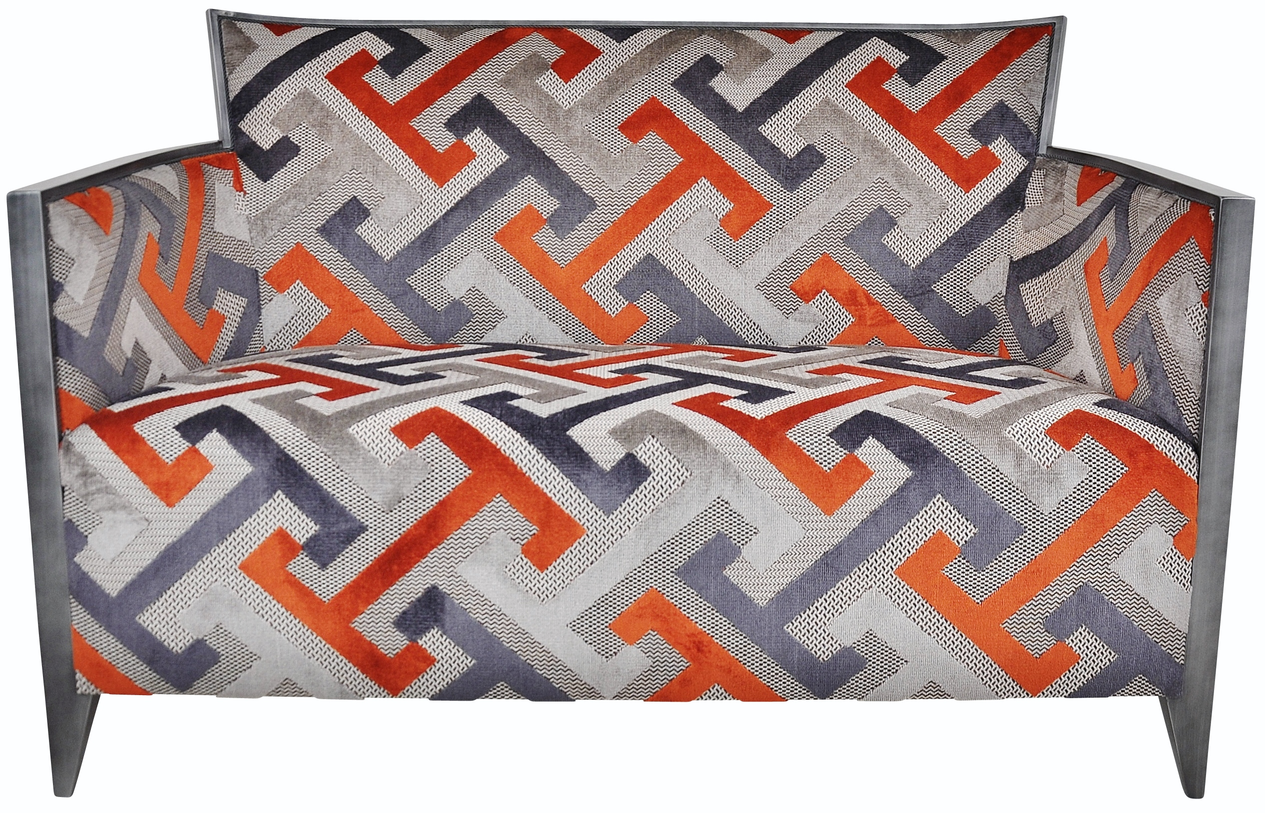 Canapé Nathan tissu geometric orange laque vieil argent