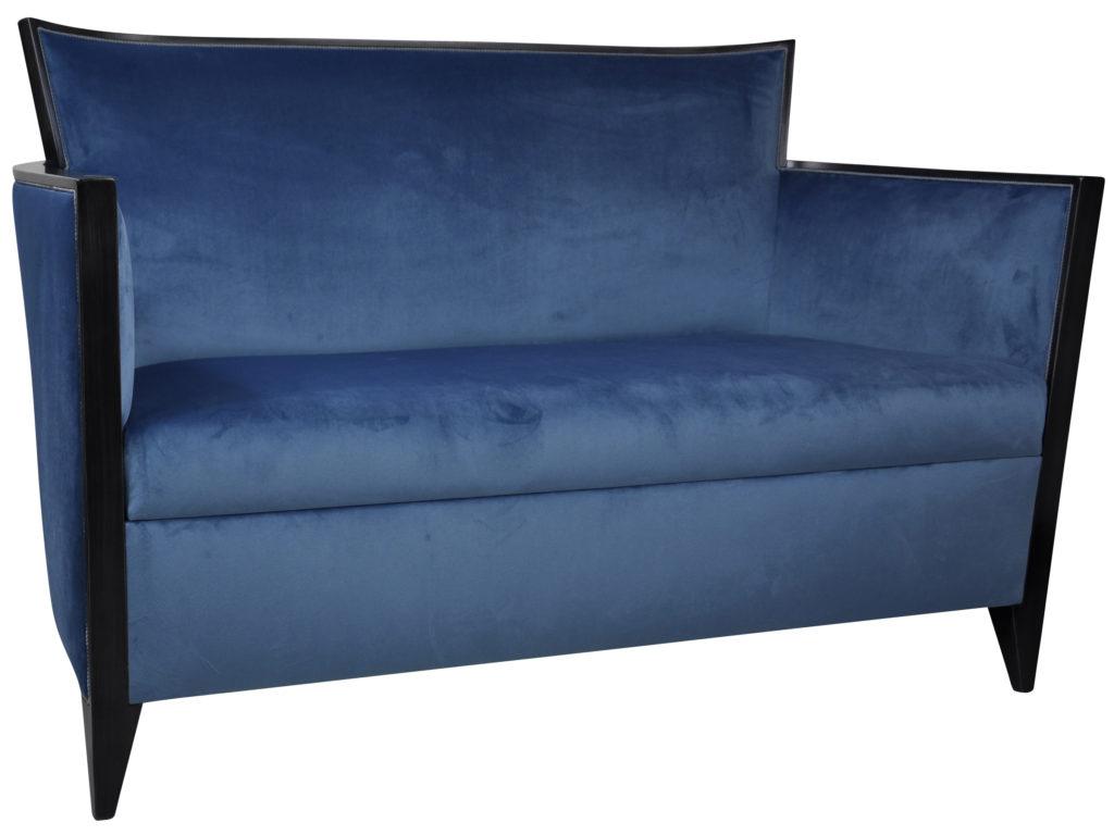 Canapé Nathan Laque Noire Brunei Bleu